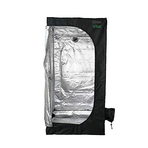 GrowVital® Lisbon Growzelt 60x60x160cm, Growbox für Homegrow, Indoor Anbauzelt, Grow Tent mit Lichtdicht, Gewächshaus, schwarz, Pflanzzelt
