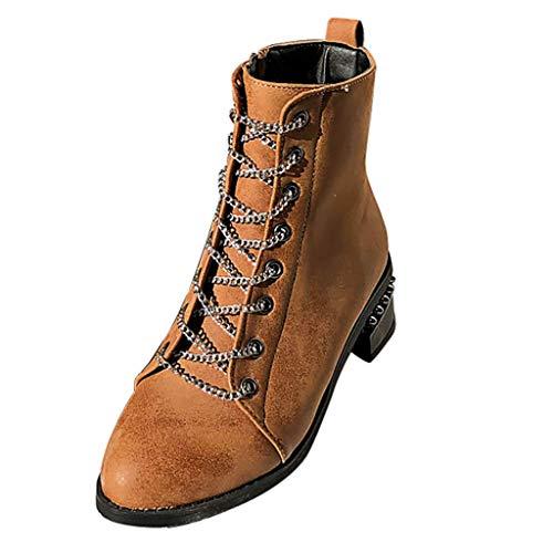 chenJBO Damen Vintage Stiefel, runde Zehen, Chunky Heels Chelsea Knöchelstiefel, warmes Futter, Samt, Winterstiefel, Herren, braun, 7.5