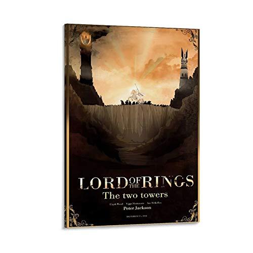 Póster de viaje The Hobbit The Two Towers LOTR – Lord of the Rings – Póster decorativo de pared, lienzo para sala de estar, dormitorio, 60 x 90 cm