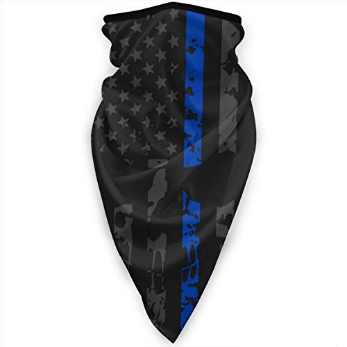Thin Blue Line Police Distressed Skull Neck Gaiter Warmer Windproof Face Mask Scarf Outdoor Sports Mask