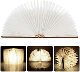 LEDHOLYT ブックライト USB充電式照明ランプ 木製 折り畳み式本型ライト マルチカラーナイトライト 暖かい色 ナイトライト テーブルランプ ベッドサイドランプ ギフト最適 (ブラウン-walnut)
