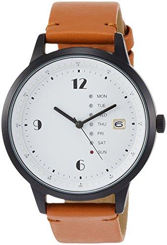 [フィールドワーク] 腕時計 アナログ グラモン 日付 曜日 表示 革ベルト QKD052-3 メンズ ブラウン