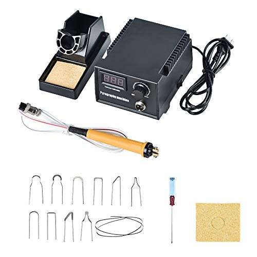 WoodBurningKit, English Panel 60W PyographyWoodBurningTool Kit Used As Wood Carving Engraver with 2 WoodBurning Stencil Pen 20pcs Pyrography Wire Tips for Wood Leather and Gourd (Single Pen)