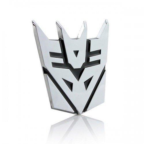 SKS Distribution® Transformers Decepticon 3D-Chrom-Auto-Emblem-Abzeichen-Aufkleber Aufkleber mittlerer Größe