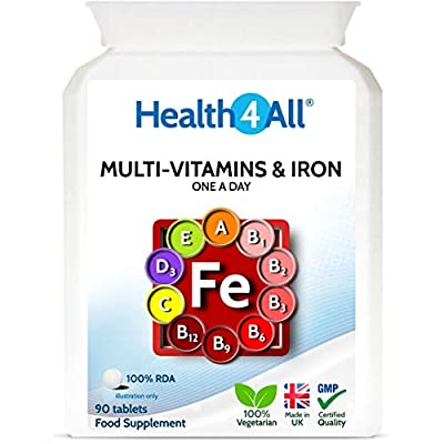 Multivitamins & Iron One a Day 90 Tablets . 100% RDA. Made in The UK by Health4All