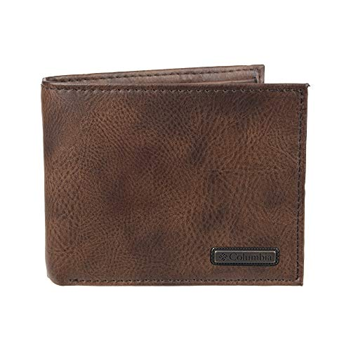 Columbia Men's Leather Extra Capacity Slimfold Wallet, Tan Kerns, One Size