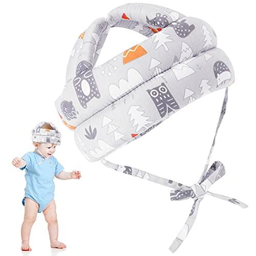 Hwtcjx protector cabeza bebe, casco bebe, 1 pieza Protector de cabeza infantil, Hecho de algodón agradable para la piel, transpirable, ajustable, para niños de 6 meses a 5 años (17 x 13cm, gri