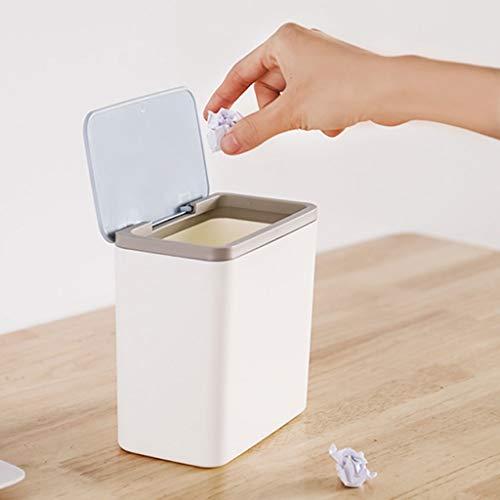 NYKK Countertop Mülleimer Rechteck Kunststoff Kleines Tiny Büro Aufsatz- Garbage Can Aufsatz- Trash Can drücken, um die Abdeckung zu öffnen Desktop Trash Can (Color : Blue)
