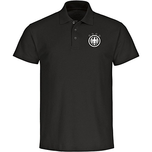 VIMAVERTRIEB Herren Poloshirt Deutschland Adler Retro Trikot schwarz - Männer Shirt Polo Fanshirt Fanartikel Fanshop Trikot Fußball EM WM Germany, Größe:L