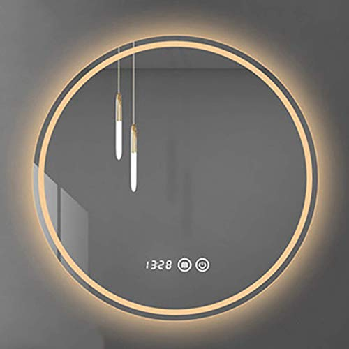 ZCZZ Espejo de baño LED Redondo Iluminado, Espejo de tocador de Maquillaje Inteligente para baño Moderno, Interruptor de atenuación táctil, IP44