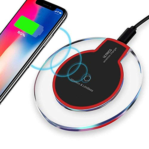 ULTRICS Cargador Inalámbrico, Qi Habilitado Wireless Charger, Universal Estándar Cargador Movil Compatible con iPhone 11 Pro/XS MAX/XR/X/ 8, Samsung Galaxy S20/ S10/ S9/ S8 Plus, Note 10/9 – Negro
