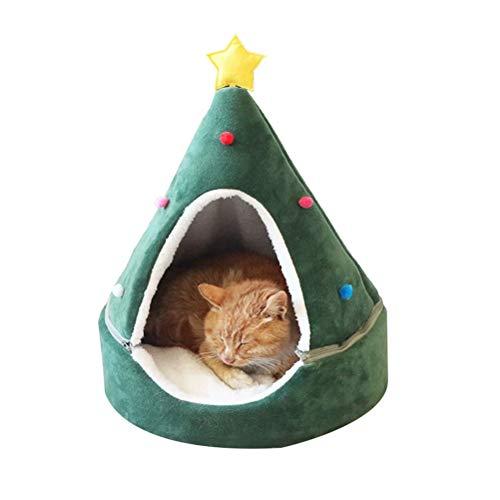 CaCaCook Árbol de Navidad Cat House Cama de Gatos Casa de Gatos Muebles para Gatos Idea Cute Cat Cave Bed, Soft Cat Teepee House Christmas Warm Cat Bed para el Invierno
