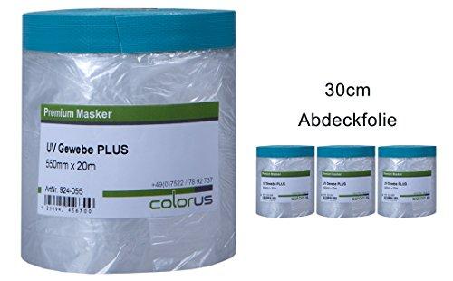 3 x Colorus Masker Tape PLUS UV Gewebe 30cm x 20m Abdeckfolie Abklebeband Maskenband für raue Untergründe
