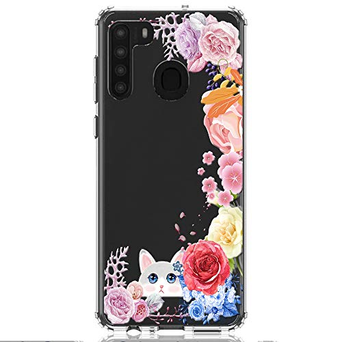 HUIYCUU Compatible with Galaxy A21 Case, Shockproof Anti-Slip Cute Glitter Sparkle Flower Clear Design Pattern Funny Slim Crystal Soft Bumper Girl Women Cover Case for Samsung Galaxy A21, Flowers Cat