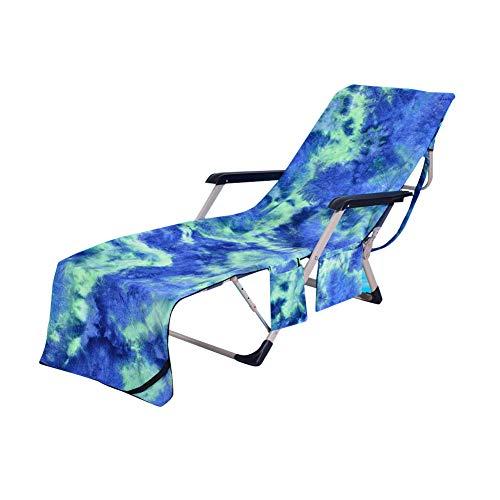 HONGBI Mikrofaser Handtücher Kühlendes Handtuch Strandhandtuch Liegenbezug Strandtuch - Mehrere Taschen/Leicht/Ultra Saugfähig Grün 75X210CM
