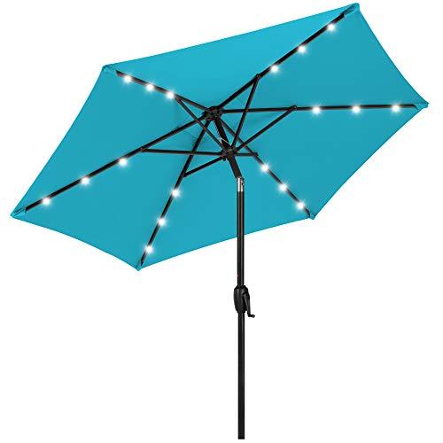 Best Choice Products 7.5ft Outdoor Solar Market Table Patio Umbrella for Deck, Pool w/Tilt, Crank, LED Lights - Sky Blue