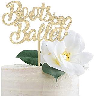 DKISEE Decoración para tarta de ballet, diseño de botas o ballet, color dorado