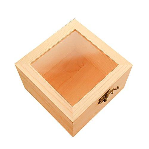 MoGist Mini-Verpackung, Geschenkbox, transparente Glasabdeckung, Aufbewahrungsbox, Holzbox für Schmuck, Ringe, Halsketten und andere kleine Accessoires