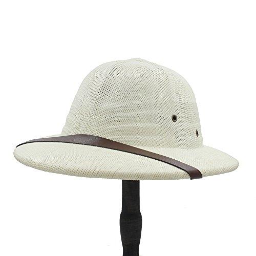 XACQuanyao Unisex Hut Neuheit Toquilla Stroh Helm Pith Sonnenhüte Für Frauen/Männer Vietnam Hut Dad Boater Eimer Hüte Safari Jungle Miners Cap 56-59CM (Farbe : 1, Größe : 56-59CM)