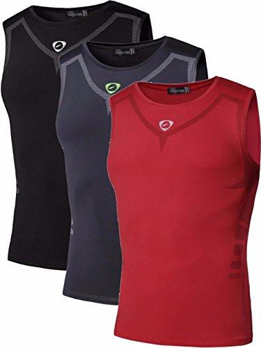 jeansian 3 Packs Hombre Camiseta Deportiva Sin Mangas Muscle Fitness Chaleco Deportivo Men Vest Tank Tops LSL207 PackB XL