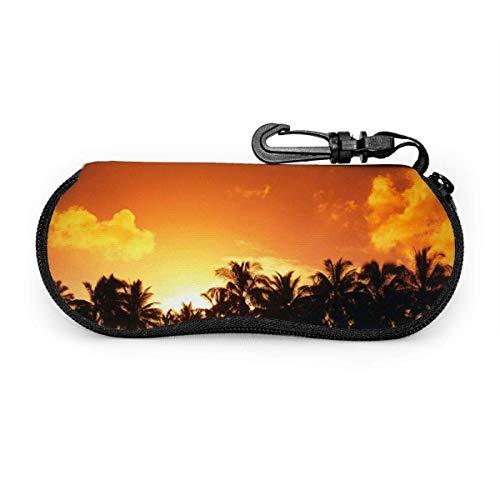 Fila portátil del árbol de coco durante la puesta de sol Gafas de sol con hebilla de bloqueo Bolsa suave Funda de gafas con cremallera de tela de buceo ultraligera