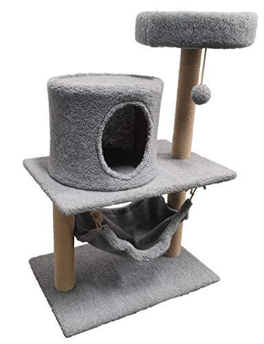 Honor Jojoba Groß Katzenkratzbaum Katzenbaum Scratching Post Kitten mit Hängematte Höhle mit Liegemulden, Hängematte