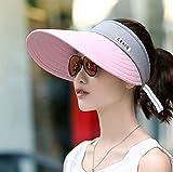 Sombrero para el sol de ala ancha para mujer de verano, ajustable y plegable, que cubre la cara y la protección solar, no se voltea al andar en bicicleta, sombrero de playa con la parte superior vacía