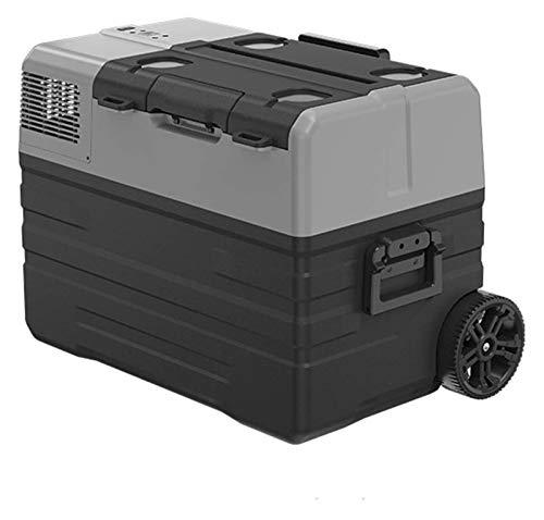 SHUHANG Refrigerador del compresor 42L Caja de Enfriador eléctrica con congelación y 2 poleas Palanca de Ajuste Libre (Color : Black, Size : 68.9x41.2x46.5cm)