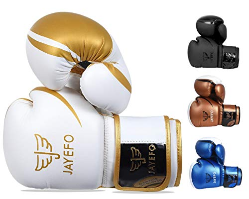 Jayefo Glorious Boxing Gloves Muay Thai Kick Boxing Leather Sparring Heavy Bag Workout MMA UFC Pro Leather Gloves Mitts Work for Men & Women (PRO White, 16 OZ)