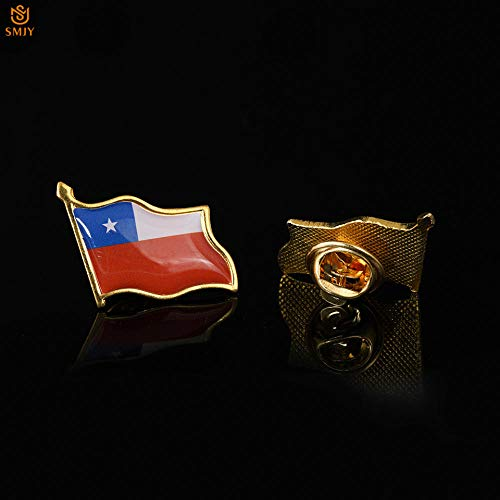 SFDGBTH Chile Bandera ondeando Broche Pin Collar Corbata/Traje Metal Recuerdo Insignia Pin joyería de Moda Regalo