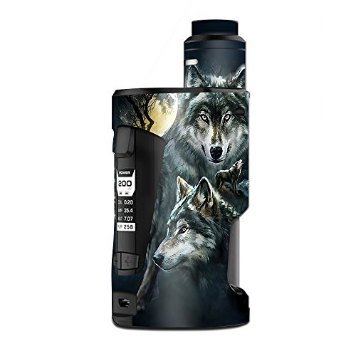 Skin Decal Vinyl Wrap for Geekvape GBox Squonk Kit 200W Vape Kit skins stickers cover / 3 Wolves Moonlight