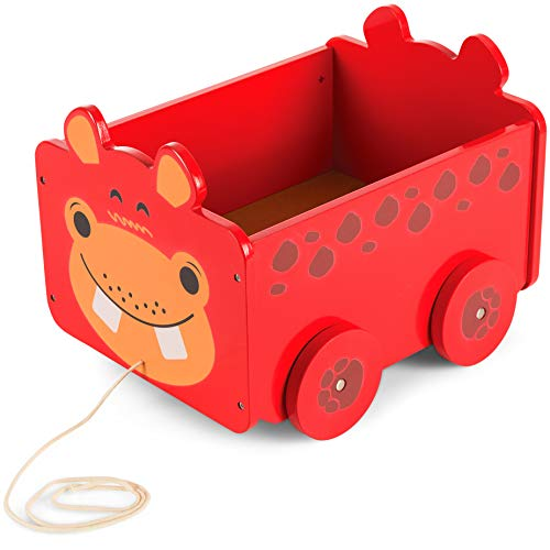 Wooden Pull Along Toy Box (Hippo Design) Great Wooden Toy Gift for Children...
