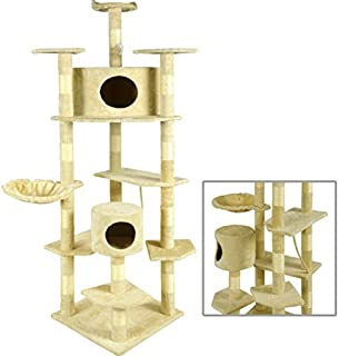 BestPet Cat Tree Condo Furniture Scratching Post Pet Cat Kitten Pet House, 80-Inch, Beige