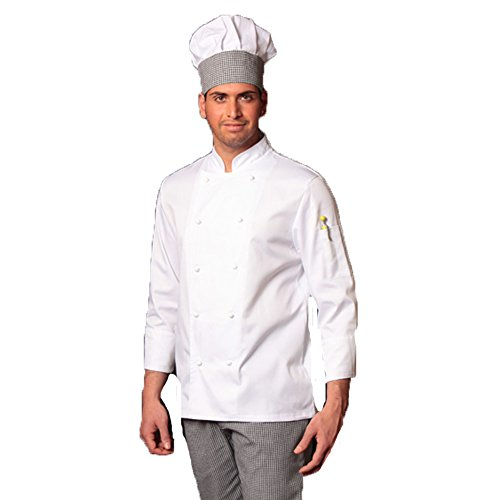 Weiße Kochjacke und Hose für Küche Salz und Pfeffer mit Hut (L)
