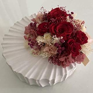 Composizione di rose rosse stabilizzate - vaso in ceramica