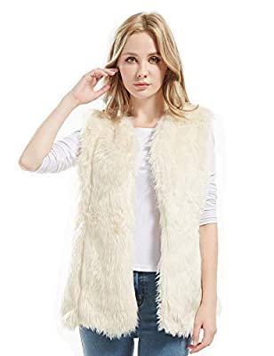 Bellivera Women's Faux Fur Vest Warm Sleeveless Outwear for Spring Fall and Winter White X-Large
