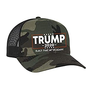 Trenz Shirt Company Political Elect That MF'ER Again Trump 2020 Embroidered Trucker Mesh Snapback Hat Army Black