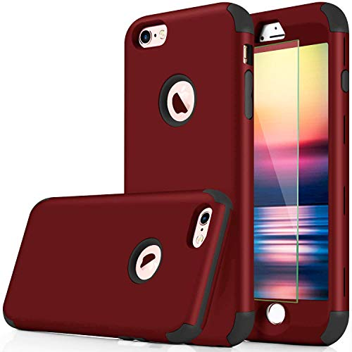 DUDETOP Compatible with iPhone 7 Case/iPhone 8 Case,3-in-1 360 Full Body Shockproof Armor Protective Cover Design with Tempered Glass Screen Protector for Apple iPhone 7/8 4.7 Inch(Red)