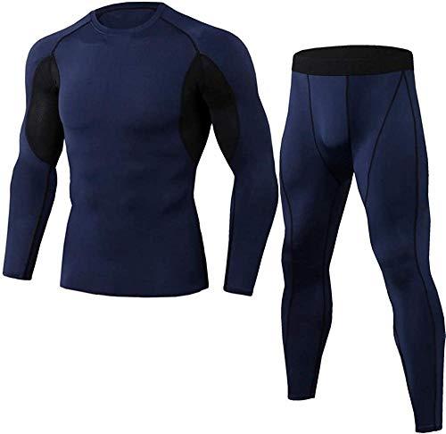 FutuHome Herren Fitness Bekleidung Trainingsanzug 2pcs Set,Seamless Funktionsunterwäsche Set Thermounterwäsche Skiunterwäsche Atmungsaktiv