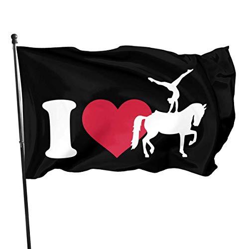 wallxxj Flagge Ich Liebe Pferd Voltigieren Silhouette Garten Flagge Standard Im Freien Familiensaison Haus Banner Bunte Urlaub Lebendig Willkommen Outdoor Classic 90X150Cm Druck Banner FLA