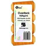 Overlock 2986 - 4 bobine di filo da cucito Overlock, 2743 m, NE 40/2, 100% poliestere, filo per macchina da cucire, colore: arancione chiaro