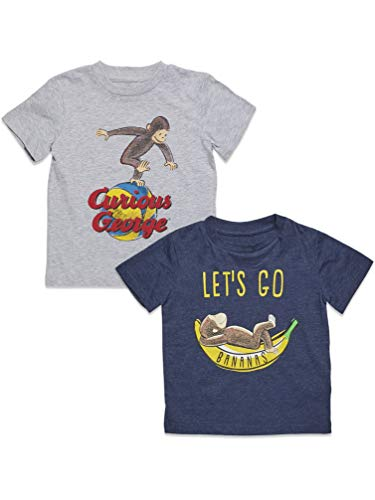 Curious George Toddler Boys 2 Pack Short Sleeve T-Shirts Grey/Blue 4T