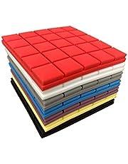 50X50X5cm Akoestisch Schuim Behang Sticker Praktisch Paneel Geluid Stop Absorptie Spons Studio Ktv Woonkamer Bar Geluiddichte Stevige Spons 3D Muursticker (Color : Yellow, Size : 6pcs)