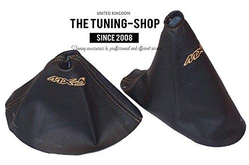 The Tuning-Shop Ltd Gear & Handbremsmanschette schwarz Leder Double Tan MX-5