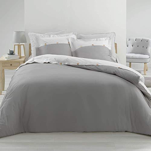Funda nórdica de percal de 240 x 260 cm y 2 fundas de almohada con volante plano de 63 x 63 cm – Vice Versa gris y blanco
