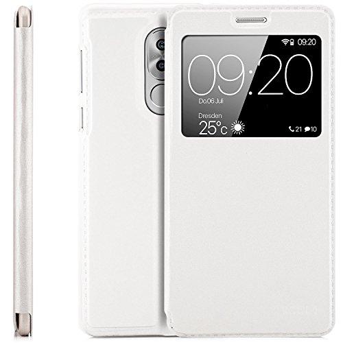 zanasta Tasche kompatibel mit Huawei Honor 6X / GR5 2017 Hülle Schutzhülle Flip View Cover mit Fenster & Kameraschutz | Weiß