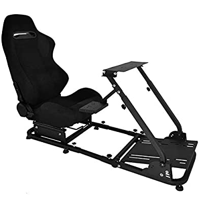 Minneer Racing Wheel Stand with Real Seat Steering Simulator Cockpit Fit for Fantec, Logitech G25, G27, G29, G920, T500, T300Rs