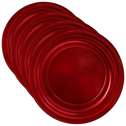 COM-FOUR® 4x Placa decorativa de plástico - Plato de corona de Adviento para Navidad - Plato para bodas y celebraciones familiares