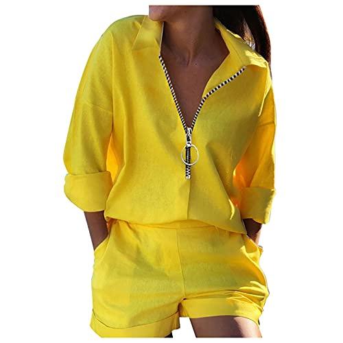 WENDAO Chándal para mujer con capucha, suéter, pantalón corto con bolsillos, sin mangas, corto, camiseta corta, juego de sudadera, chándal de ocio, chándal deportivo