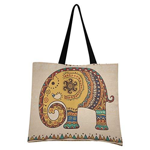 XIXIXIKO - Bolsa de lona para mujer, diseño étnico, indio, ligera, para playa, para llevar al hombro, resistente para mujeres, niñas, compras, gimnasio, playa, viajes diarios